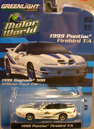 WHITE 1999 PONTIAC TRANS AM DAYTONA 500 PACE CAR GREENLIGHT 1:64 SCALE DIECAST