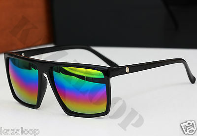 Flat Top Brow Black Glossy frame Rectangle lens Sunglasses Mens Womens Oversized