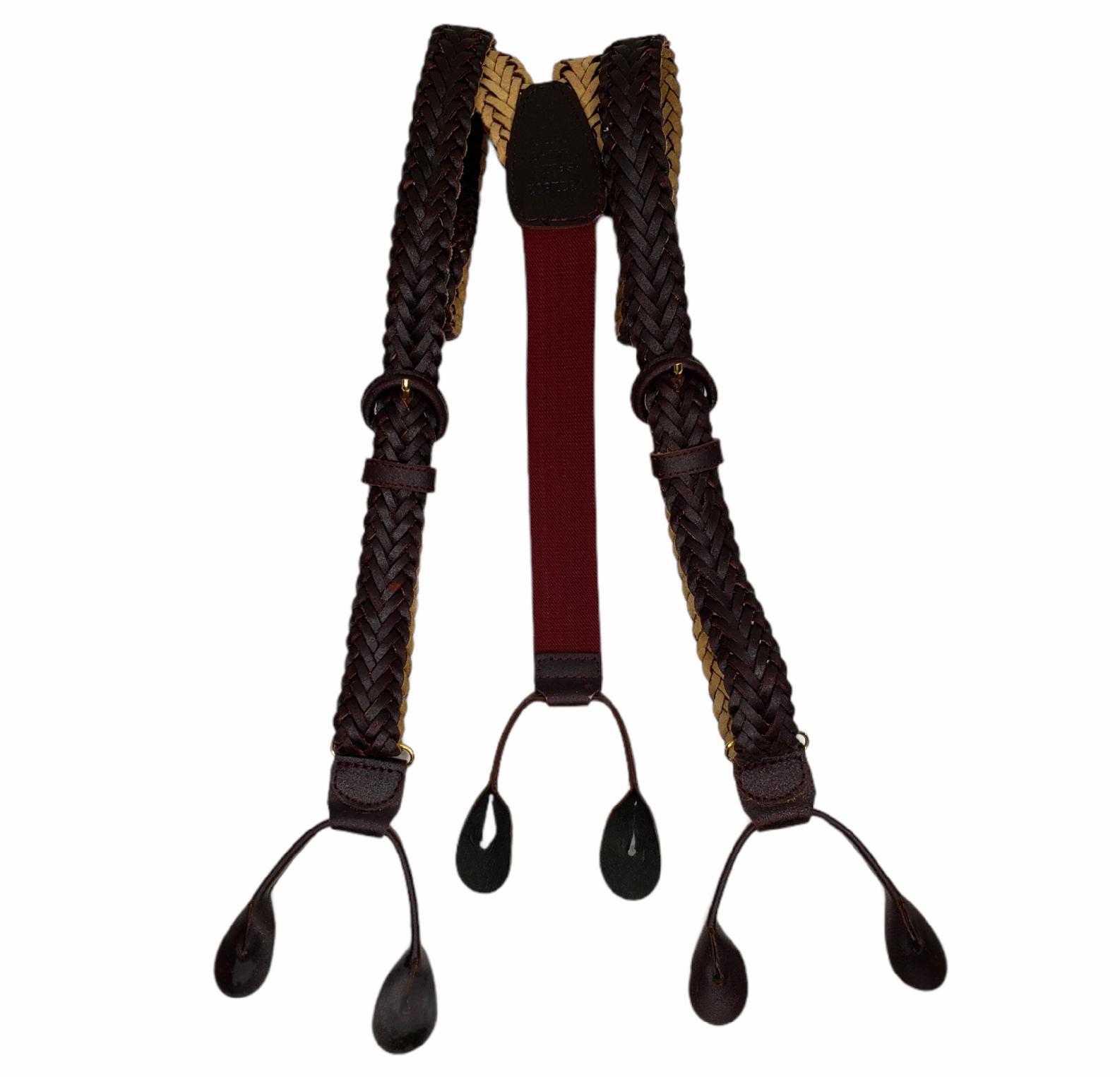 Brown Leather Suspenders Braided Braces Maroon Elastic Adjustable