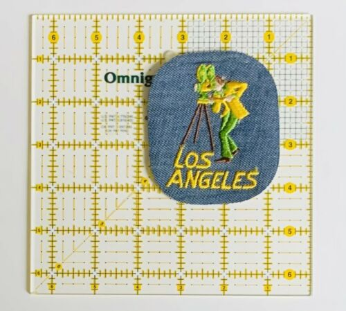 Vintage Denim Los Angeles Iron On Patch California Movie Stars Sun Beaches