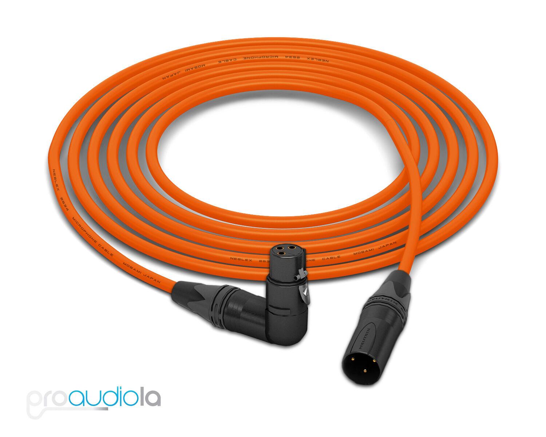 Mogami 2534 Quad Cable   Neutrik guld 90º XLR-F to XLR-M   Orange 20 Feet 20'
