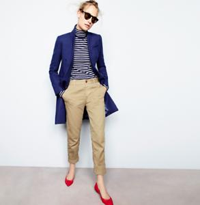 J. CREW BROKEN IN BOYFRIEND Women's Distressed Khaki cotton PANTS CITY FIT Sz 0