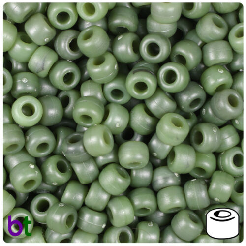 BeadTin Jade Green Matte 9mm Barrel Pony Beads 500pcs