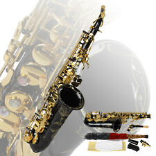 New Alto Sax Saxophone Black E-flat Eb Brass with Abalone Shell Buttons+Case