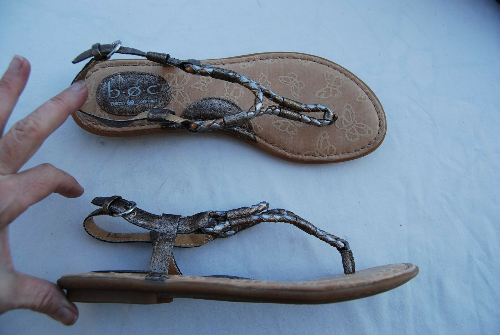 Silver & Bronzey Gold Faux B.O.C. Leather B.O.C. Faux Born Concept Thong Slingback Sandals 8 bce724