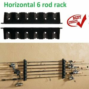 Horizontal Rod Rack 6 Fishing Boat Gear Pole Storage Stand Holder Wall Mount New