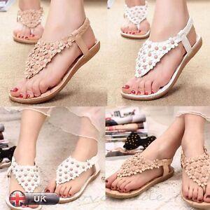 Fashion-Women-Ladies-Summer-Bohemia-Flat-Shoes-Beach-Sandals-Slippers-Clip-Toe
