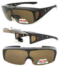 fee62228c9f Flip Up POLARIZED Cover Put Fit over Sunglasses wear Rx glass Fit Driving  Brown