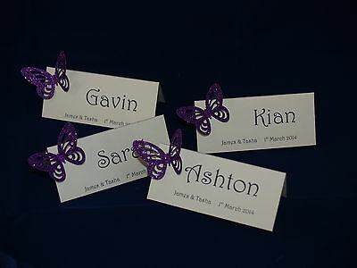 10 GLITTER BUTTERFLY PERSONALISED WEDDING PLACE NAME CARDS *** 14 COLOURS***