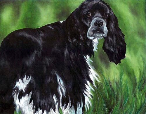 COCKER SPANIEL Black /& White 8x10 Dog Art Print of Original Oil Painting by VERN