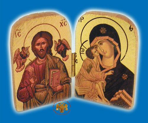 Icona Ortodossa LEGNO DITTICO 10cmx7cm orthodoxe IKONE gottesmutter CHRISTUS