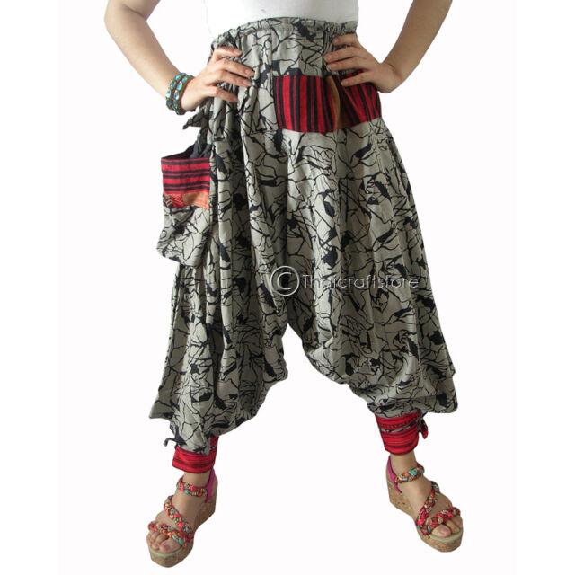Harem Drop Crotch Bohemian Trousers/Pants Gypsy Men Women Hippie Hmong Baggy New