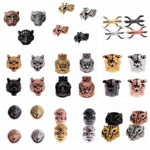 Zircon Micro Pave Couronne Lion Wolf éléphant Evil connecteur charme perles Bracelet