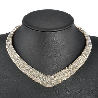 Fashion Women Crystal Pendant Chain Choker Chunky Statement Bib Necklace Jewelry