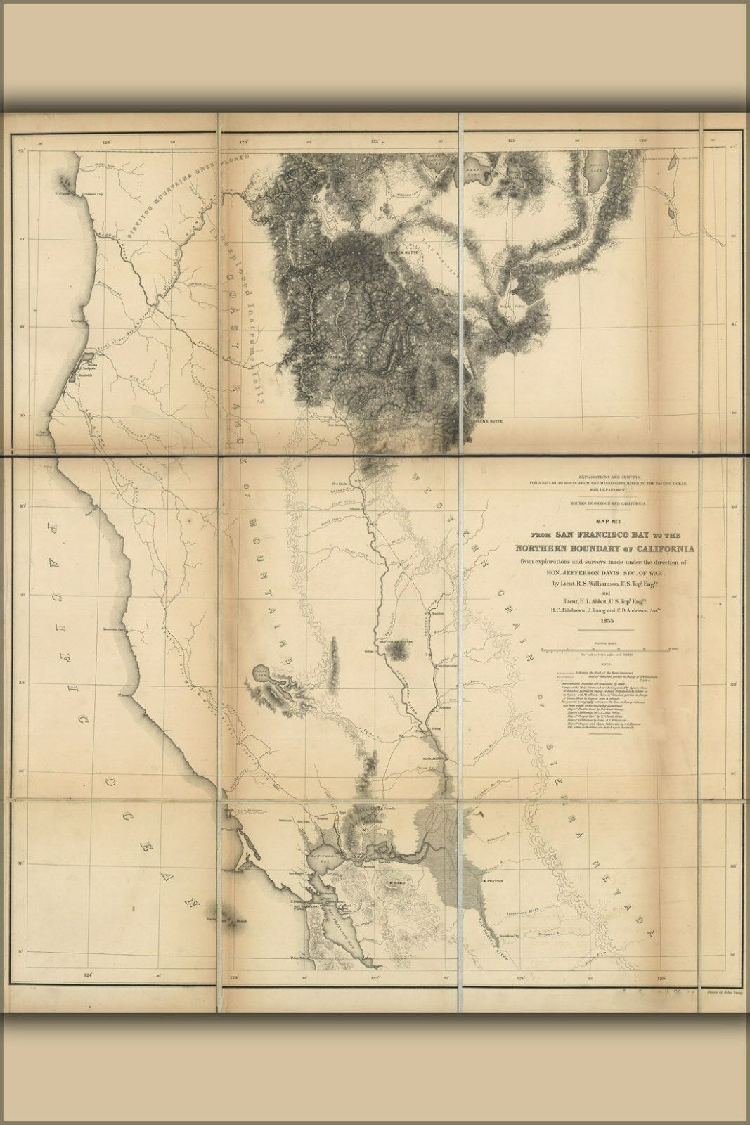 Poster, Many Größes; Map Of California North Of San Francisco Bay  1855