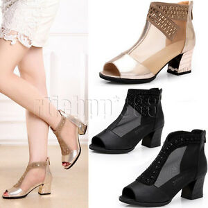 565d94dcb0e Ladies Mesh Peep toe Mid Block Heels Diamante Sandals Ankle Boots ...