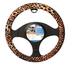 Brown, Beige & Black Velour Leopard Animal Print Car Steering Wheel Cover Glove