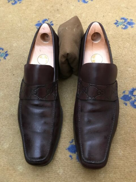 f58efdccbc5 Gucci Mens Shoes Brown Leather Loafers UK 10 US 11 EU 44 Embossed Made in  Italy