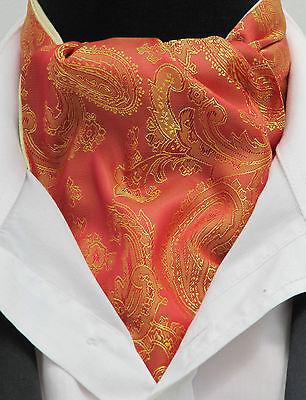 100% Vero Da Uomo Arancione E Oro Paisley Raso Di Seta Ascot Cravatta & Fazzoletto Da Taschino-made In Uk-mostra Il Titolo Originale In Molti Stili