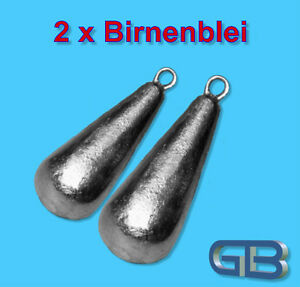 2-x-Birnenblei-mit-Ose-15g-25g-35g-50g-60g-Angelblei-Grundblei-Karpfenblei