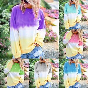 Womens-Ladies-Long-Sleeve-Blouse-Gradient-Tops-T-Shirt-Loose-Pullover-Tee-Shirt