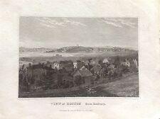 VEDUTA BOSTON FROM ROXBURY AMERICA incisione 1828  J. R. SMITH Massachusetts