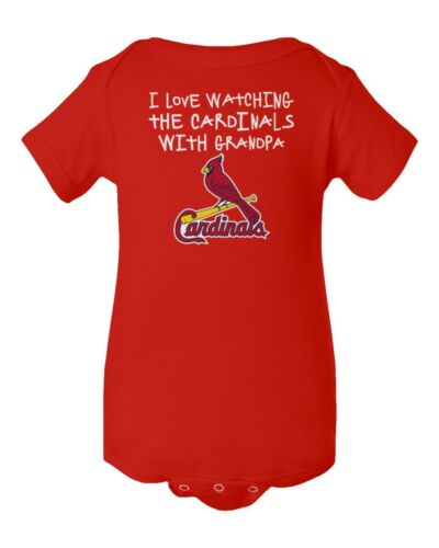 Louis Cardinals I Love Watching With Grandpa Baby Short Sleeve Bodysuit St