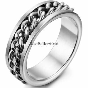 8mm Stainless Steel Curb Linked Chain Center Spinner Band Mens Womens Ring