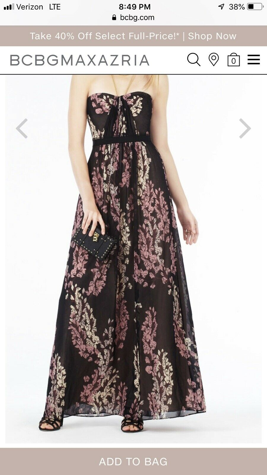 368 BCBGMaxazria BCBGMaxazria BCBGMaxazria Amber Strapless Floral Print Gown SIZE  4 f242c8