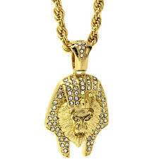 "Mens 14k Gold Plated Hip-Hop Lion Pharoah Pendant 24"" Rope Chain Necklace D661"