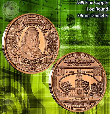 "5 Rounds /""$100 Ben Franklin Banknote/"" Copper 1 oz .999 Copper Round"