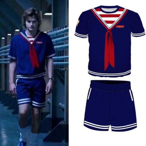Stranger Things Season 3 Steve Harrington Scoops Ahoy Cosplay Costume 3D Uniform