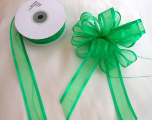 10 et 20 mètres Tirez bow ruban satin vert émeraude Bord Organza 25mm large 5