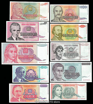 Yugoslavia *HYPERINFLATION SET* 10 notes 1993 - 50 MILLION to 500 BILLION Dinara