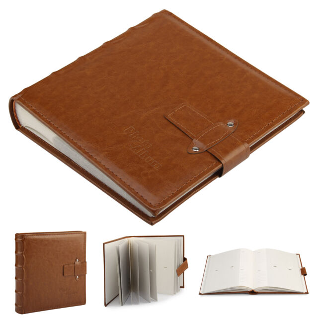 """6x4""""  Vintage Leather Photo Album Cover Accommodate 200 Photos With Memo Brown"""