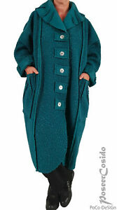 PoCo DeSign LAGENLOOK warmer Mantel Boucle 44 46 48 50  L-XL-XXL-XXL petrol