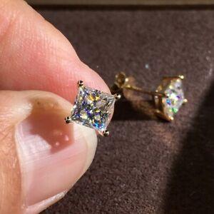 2Ct-Princess-Cut-Moissanite-Diamond-Solitaire-Stud-Earrings-14K-Yellow-Gold-FN