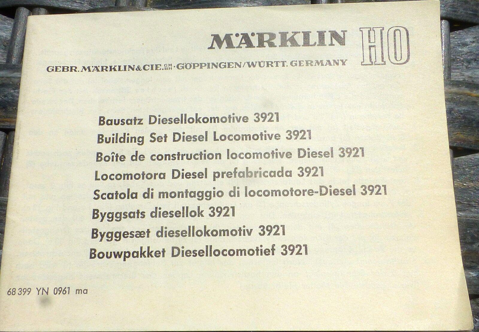 Manual Kit Diesel Locomotive 3921 Märklin 68 399 YN 0961 Ma H0 1 87 Å