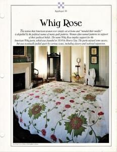Whig Rose Best Loved Quilt Pattern W Flexible Applique