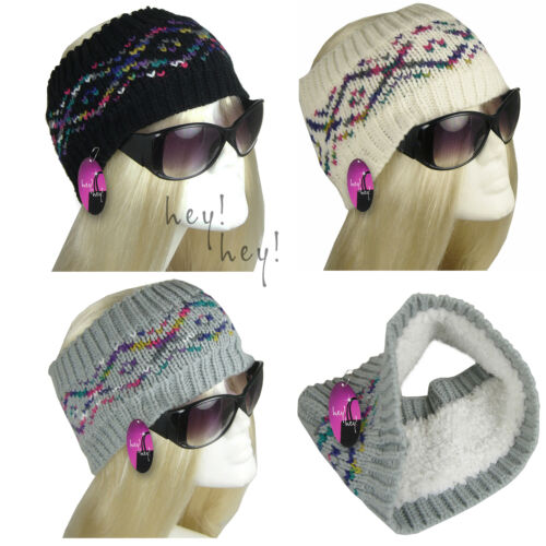 Gestricktes Kopfband Dick Haarband Hut Ohrenwärmer Warm Fairisle Kunstschaffell