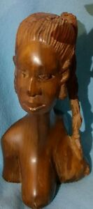 Wood carved female statue - African art from Benin