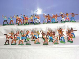 2-Vintage-rare-Collection-Rubber-Indians-and-Cowboys-43pcs-GDR-Germany-70-039-s
