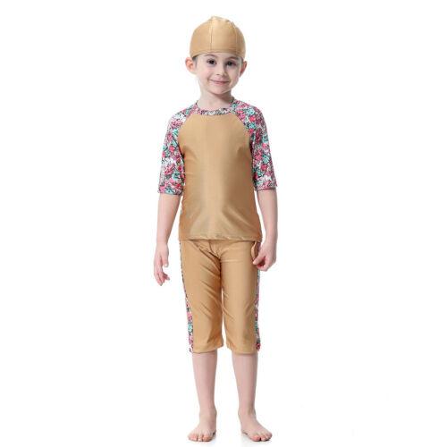 Summer Girls Prints Flower Swimsuit Swimwear Muslim Children Modest Beachwear