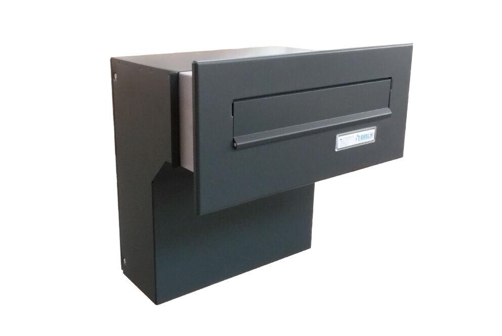 F-04 Anthrazit Mauerdurchwurf Briefkasten (verstellbare Tiefe) Letterbox24