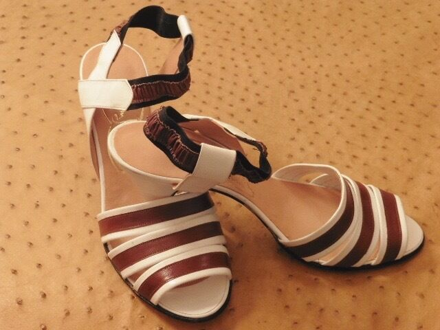 Magnificent white leather sandal youth rome vintage 70 new t.38