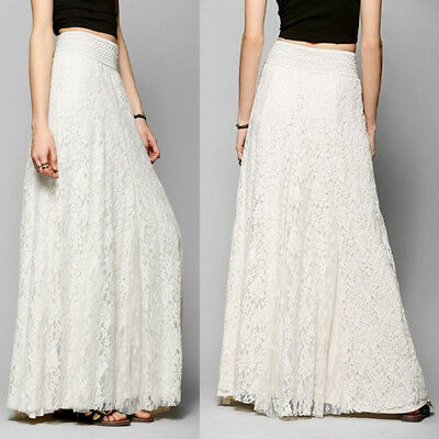 Plus Size 2017 Lace High Waist Maxi Long Skirts Womens Skirt Dress Jupe Femme