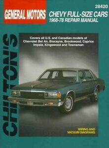 total car care repair manuals chevrolet full size cars 1968 78 by rh ebay com 1978 Chevy Caprice White Top 1978 Caprice Parts