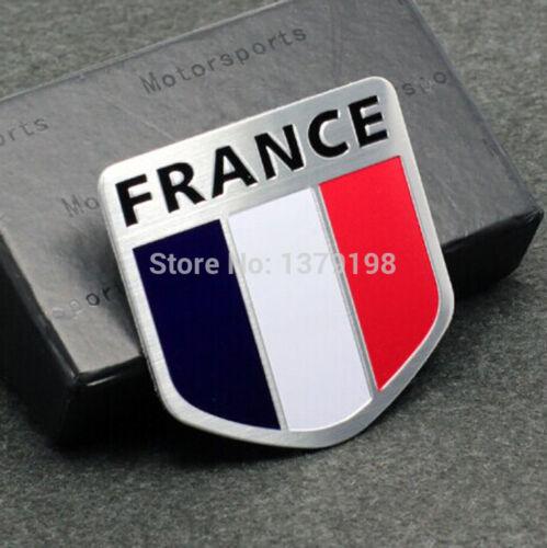 Sticker 3D drapeau France en métal pour voiture adhésif autocollant