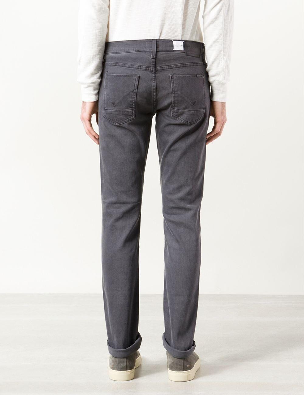 New Hudson Men's Blake Grey Straight Slim Casual Pants Denim Jeans Trousers