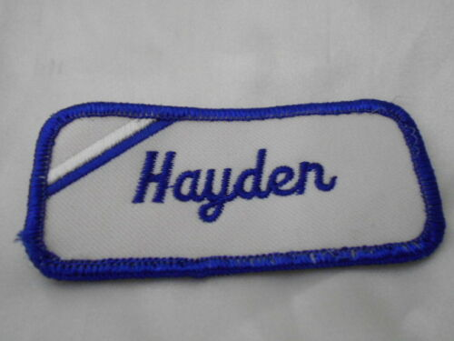 HAYDEN  USED EMBROIDERED  SEW ON NAME PATCH TAG BLUE ON WHITE